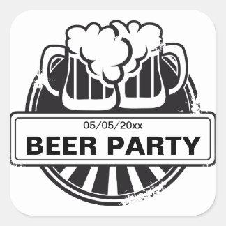 Logotipo adaptable de la cerveza calcomanías cuadradases