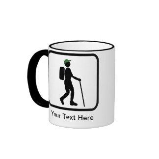 Logotipo adaptable del caminante taza de dos colores