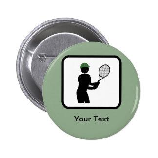 Logotipo adaptable del jugador de tenis pin redondo de 2 pulgadas