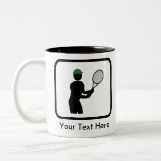 Logotipo adaptable del jugador de tenis taza de café