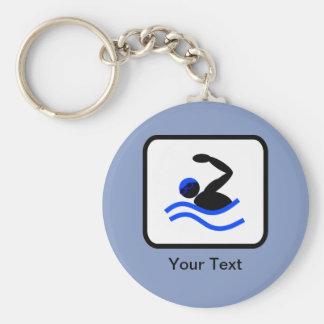 Logotipo adaptable del nadador llavero redondo tipo pin