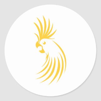 Logotipo amarillo de encargo del Cockatoo Etiquetas Redondas