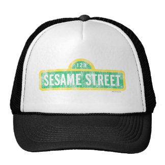 Logotipo amarillo de la muestra del Sesame Street Gorros