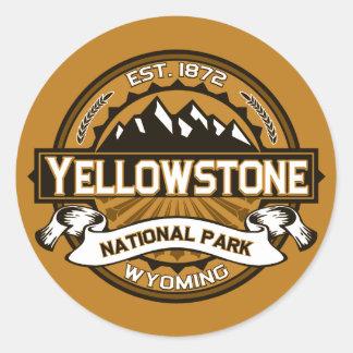 Logotipo amarillo de oro del parque nacional de pegatina redonda