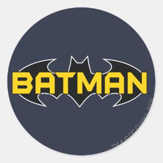 Logotipo amarillo del símbolo el | de Batman y Pegatina Redonda