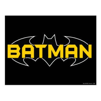 Logotipo amarillo del símbolo el   de Batman y Tarjetas Postales