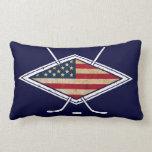 Logotipo americano de la bandera del hockey almohadas