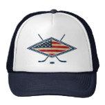 Logotipo americano de la bandera del hockey gorras