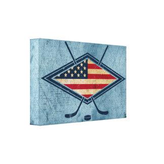 Logotipo americano de la bandera del hockey lienzo envuelto para galerias
