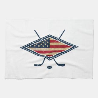 Logotipo americano de la bandera del hockey toallas