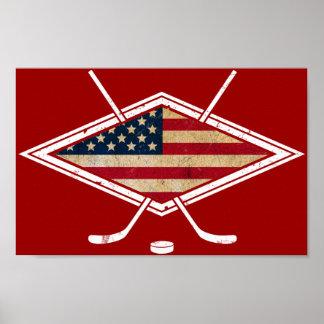 Logotipo americano de la bandera del hockey póster
