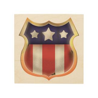 Logotipo americano del super héroe impresiones en madera
