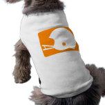 Logotipo anaranjado del casco de fútbol americano ropa macota