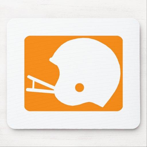 Logotipo anaranjado del casco de fútbol americano alfombrilla de ratón
