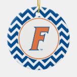 Logotipo anaranjado y azul de la Florida F Adorno Navideño Redondo De Cerámica