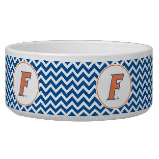 Logotipo anaranjado y azul de la Florida F Comedero Para Mascota