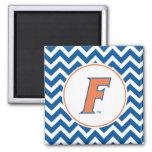 Logotipo anaranjado y azul de la Florida F Imán Para Frigorífico