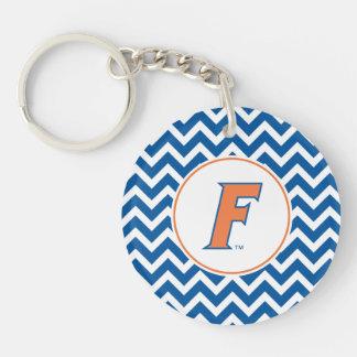 Logotipo anaranjado y azul de la Florida F Llavero Redondo Acrílico A Doble Cara
