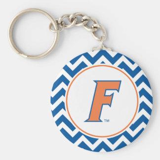 Logotipo anaranjado y azul de la Florida F Llavero Redondo Tipo Pin