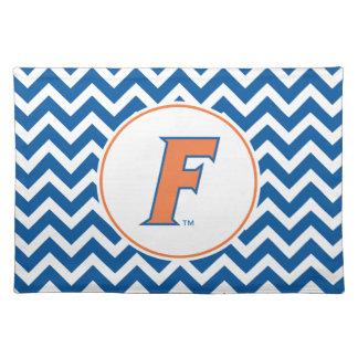 Logotipo anaranjado y azul de la Florida F Manteles Individuales