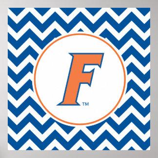Logotipo anaranjado y azul de la Florida F Posters