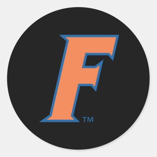 Logotipo anaranjado y azul de la Florida F Pegatinas Redondas