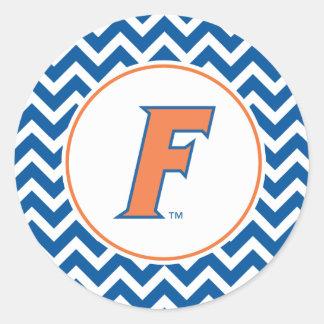 Logotipo anaranjado y azul de la Florida F Pegatina Redonda
