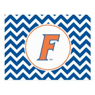 Logotipo anaranjado y azul de la Florida F Tarjetas Postales
