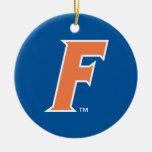 Logotipo anaranjado y blanco de la Florida F Adorno Navideño Redondo De Cerámica