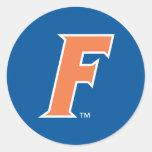 Logotipo anaranjado y blanco de la Florida F Pegatina Redonda