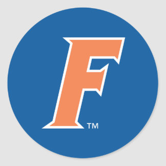 Logotipo anaranjado y blanco de la Florida F Pegatinas Redondas