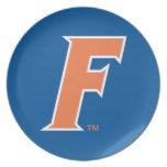 Logotipo anaranjado y blanco de la Florida F Plato De Comida