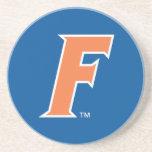 Logotipo anaranjado y blanco de la Florida F Posavaso Para Bebida