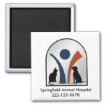 Logotipo animal veterinario con el gato y el perro imán de frigorífico