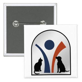 Logotipo animal veterinario con el gato y el perro pin cuadrado
