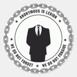 logotipo anónimo pegatina redonda