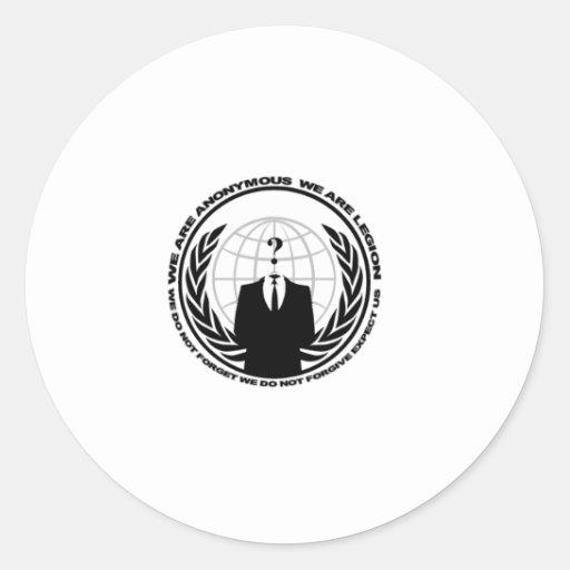 Logotipo anónimo w/motto etiquetas redondas