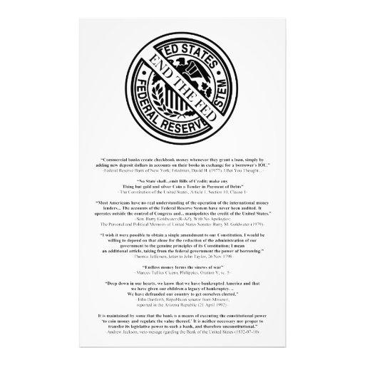 Logotipo anti de Federal Reserve con las citas fam Arte Fotografico