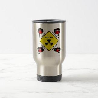 Logotipo anti de la energía atómica taza térmica