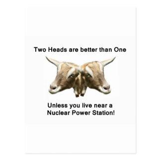 Logotipo antinuclear de dos cabezas postales