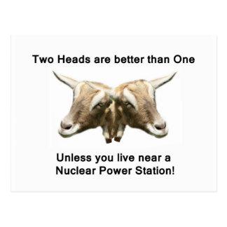 Logotipo antinuclear de dos cabezas tarjetas postales