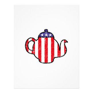 Logotipo apenado tetera de la fiesta del té membretes personalizados