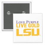 Logotipo apilado oro vivo de la púrpura del amor d pins