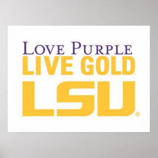 Logotipo apilado oro vivo de la púrpura del amor d póster