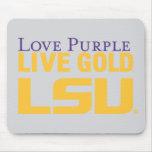 Logotipo apilado oro vivo de la púrpura del amor d tapete de raton