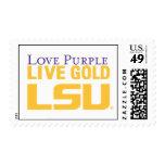 Logotipo apilado oro vivo de la púrpura del amor franqueo