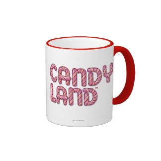 Logotipo apilado tierra del caramelo tazas