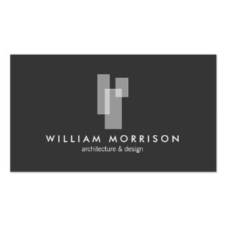Logotipo arquitectónico moderno en gris oscuro tarjetas de visita