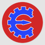 Logotipo azul básico etiqueta redonda