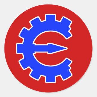 Logotipo azul básico pegatina redonda